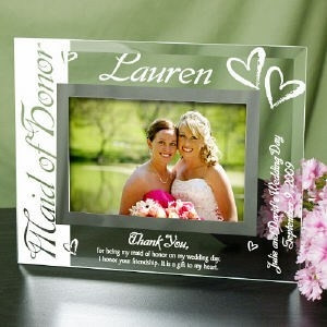 Personalized Maid Or Matron Of Honor Glass Frame