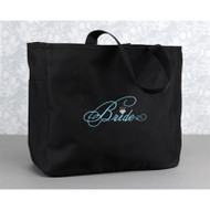 """Bride"" Tote Bag in Black"
