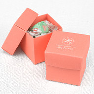 Personalized Coral Colored Favor Box (Set of 25)
