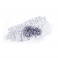 Glamorous Grey Satin and Chiffon Keepsake Garter