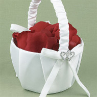 """With All My Heart"" Flower Girl Basket in White"