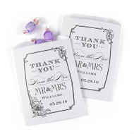 Mr. and Mrs. Vintage Floral White Favor Bags (Set of 50)