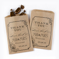 Mr. and Mrs. Vintage Floral Kraft Favor Bags (Set of 50)