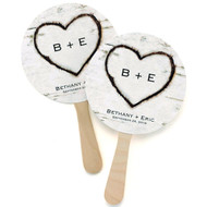 Personalized Rustic Heart Fan (Set of 48)