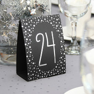 Silver Polka Dot Table Number Tent Cards (1-40)