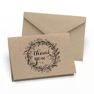 Krafty Floral Wreath Thank You Cards (Set of 50)