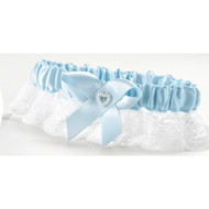 Blue Heart and Rhinestone Keepsake Garter