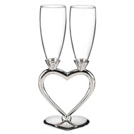 Interlocking Heart Toasting Flutes