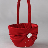 Celebration Flower Girl Basket in Claret