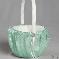 Elsa Matte Sequin Flower Girl Basket in Minty Green