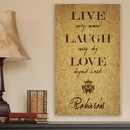 Personalized Live, Laugh, Love Canvas Print
