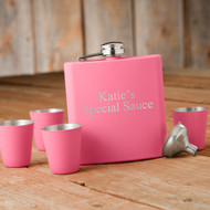 Personalized Matte Pink Flask & Shot Glass Set