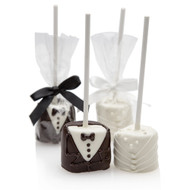 Bride and Groom Hand-Dipped Marshmallow Pop {Sold Individually}