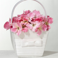 White Pleated Flower Girl Basket