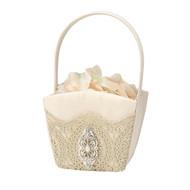 Gold Lace Flower Girl Basket