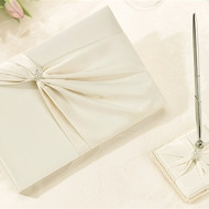 Ivory Sash Guest Book with Pen Set
