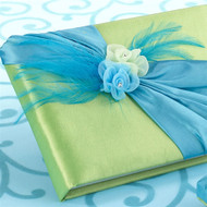 Blue and Green Flowers and Feathers Guest Book