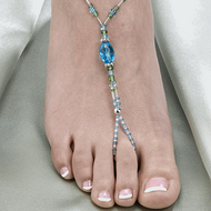 Aqua Beaded Foot Jewelry Set