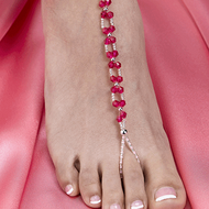 Hot Pink Beaded Foot Jewelry Set