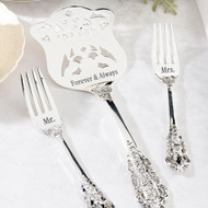 """Mr."" and ""Mrs."" Fork Set with ""Forever & Always"" Silver-Plated Serving Set"