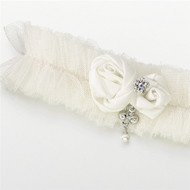 Ivory Tulle Jeweled Garter