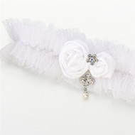 White Tulle Jeweled Garter