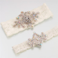 Jeweled Ivory Lace Garter Set