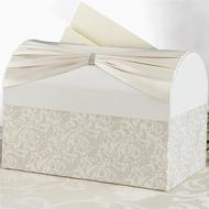 Elegant Ivory Rhinestone Sash Card Box