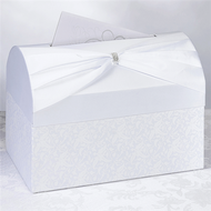 Elegant White Rhinestone Sash Card Box