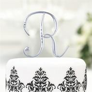 Rhinestone Satin Silver Monogram Cake Topper