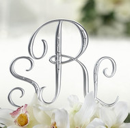 Satin Silver Monogram Cake Topper with Rhinestones