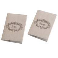 Mr. and Mrs. Rustic Tan Passport Covers