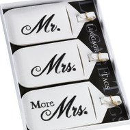 Mr. and Mrs. Embroidered Luggage Tags (Set of 3)