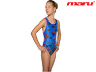 Maru Heartfelt Pacer Auto Back Girls' Swimsuit Blue/Pink