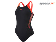 Speedo Boom SPL Muscleback Ladies Swimsuit Black/Red