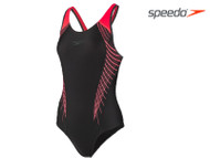 Speedo Fit Laneback Ladies Swimsuit (Black/Red/Grey)