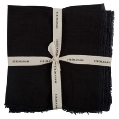 SOLID LINEN NAPKINS, FADED BLACK, SET OF 4