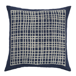 Square Grid Block Print PURE LINEN Pillowcase, Indigo
