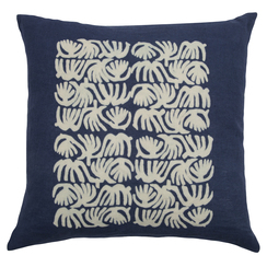 Abstract Quad Block Print PURE LINEN Pillowcase, Indigo