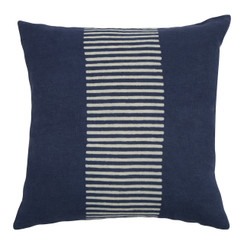 Center Stripes Block Print PURE LINEN Pillowcase, Indigo