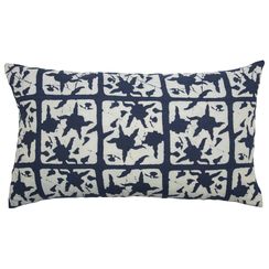 FLORAL BLOCK PRINT PURE LINEN PILLOWCASE, Indigo