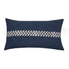 Chevron Stripe Block Print PURE LINEN Pillowcase, Indigo