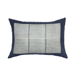 Wide Weave Block Print PURE LINEN Pillowcase, Indigo