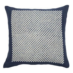 Square Check Block Print PURE LINEN Pillowcase, Indigo