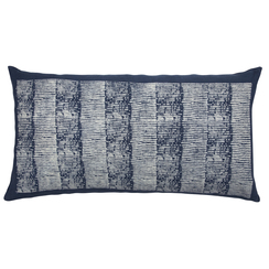 Grain Stripe Block Print PURE LINEN Pillowcase, Indigo