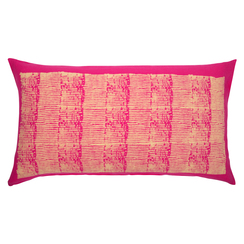 Grain Stripe Block Print PURE LINEN Pillowcase, Magenta