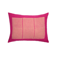 Wide Weave Block Print PURE LINEN Pillowcase, Magenta