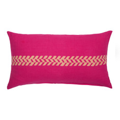 chevron Stripe Block Print PURE LINEN Pillowcase, Magenta