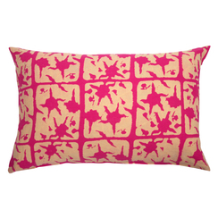 FLORAL BLOCK PRINT PURE LINEN PILLOWCASE, MAGENTA