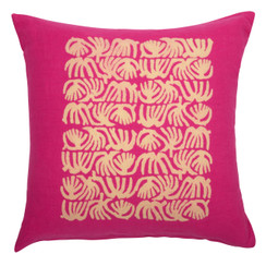 Abstract Quad Block Print PURE LINEN Pillowcase, Magenta